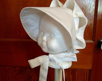 White Button Bonnet for Baby Girls, Choose Size
