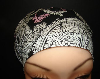 Black and White Paisley with Pink Medical Surgical Scrub Hat Vet Nurse Chemo European Style