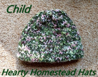 Hearty Homestead Hat - thick handknit hats with stylish hemmed brim -  CHILD