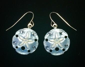 Tropical Sanddollar Earrings Handpainted in Light Blue and White