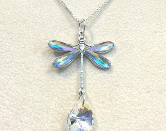 Crystal AB Dragonfly Necklace Sterling Silver Box Chain