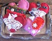 love token . felted art . felted heart . heart decoration . fiber art heart . recycled sweater heart . gypsy heart