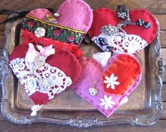 love token . felted art . felted heart . heart decoration . fiber art heart . recycled sweater heart . gypsy heart . wedding heart