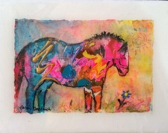 """Horse and Flower Original Painting by Caren Goodrich """"Oh That's Cute"""""""