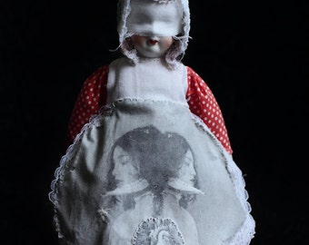 Penny (Print) FREE SHIPPING Still Life Doll Portrait Surreal Photo Girl mask Bones Hearts Lungs Child Black Red Creepy Weird Dark art