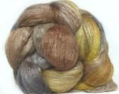 YAK SILK roving top handdyed wool spinning fiber 3.6 oz