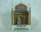 Miniature Toy Theater Vignette in Very Pale Sage Green