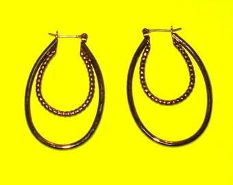 Vintage 1980s Gunmetal Silver Double Drop Hoop Earrings