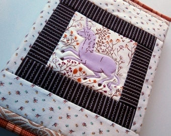 Quilted journal Cover - Heather Ross purple unicorn - fabric covered composition book, diary, logbook