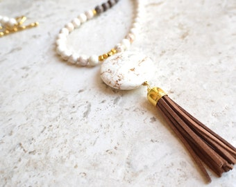 The Maxine- White Howlite, Jasper and Brown Suede Tassel Necklace