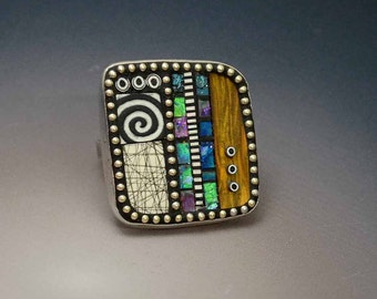 Sterling Silver Adjustable Cocktail Ring inlaid with sterling beads,Iridescent Mosaic Polymer black white elements, faux wood