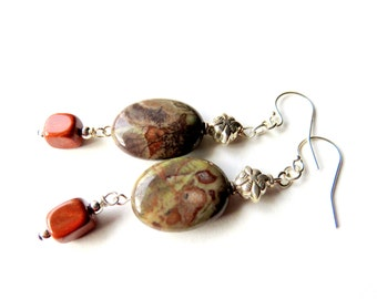 Brown Jasper Earrings, Sterling Silver, Oval Jasper Gemstones, Earthtones, Nature Inspired Jewelry, One of a Kind, Gift for Someone Special
