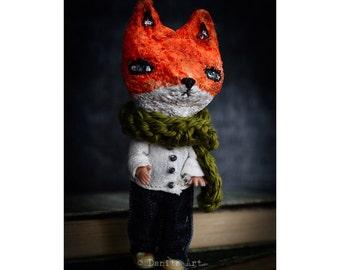 The gentle fox - An original mixed media spun cotton handmade doll by Danita Art
