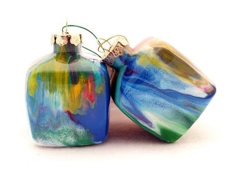 SALE Glass Ornament Painted Inside Multicolored Unique Handmade Christmas Cube OOAK Holiday Decor