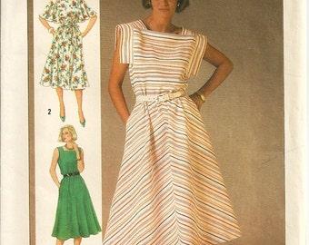 Simplicity 6793 Misses Dress, Sundress 80s Vintage Sewing Pattern Uncut Size 12, 14, 16 Bust 34, 36, 38 Flutter Sleeves Bias Skirt
