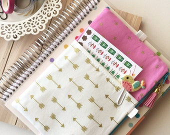 Stars and Arrows - Zipper Pouch - Planner Pouch - Planner Band - School Bag - Tassel pull - Pencil Case - Planner Accessories - Gold Stars