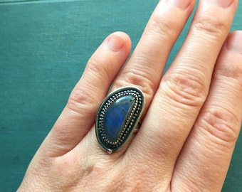 Labradorite Statement Ring | Sterling Silver Ring