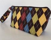 Diamond wristlet  makeup bag  medium size  cosmetic purse  clutch purse  zipper pouch