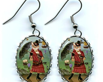 Steampunk Cat Earrings Victorain Cat Airships Fantasy Cat Art Cameo Earrings 25x18mm Gift for Cat Lovers Jewelry