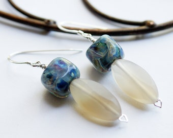 Blue Neutral Boro Lampwork glass Agate Sterling Silver earrings