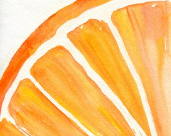 Orange watercolor painting, watercolor orange painting, 5 x 7 original kitchen art, home decor wall art, orange paintings original