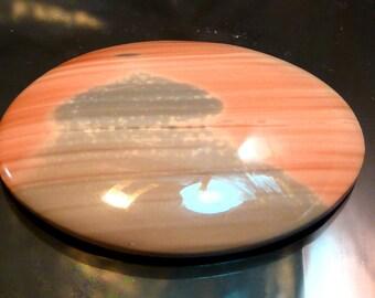 Royal Imperial Jasper Cabochon Hydrogen Bomb big oval dusty rose pink & grey cab