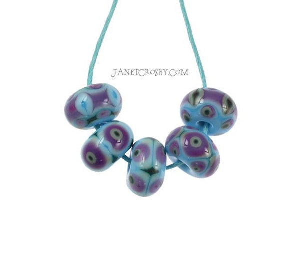 Quilted - Set of 5 Beads - Sky Blue, Green, and Purple Lampwork Bead Set (5)
