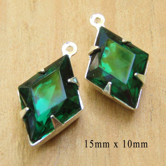 emerald green diamond glass jewels