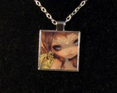 Faces of Faery 221 square metal necklace by Jasmine Becket-Griffith Art fairy dragon archer baby green dragons