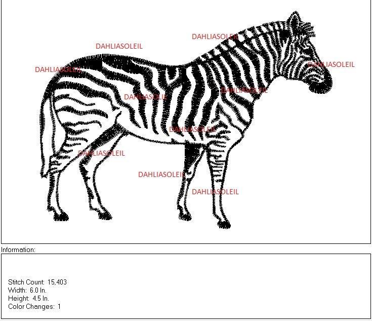 Zebra machine embroidery dst file pattern