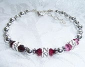 Mother's 3 Letter Initial Bracelet with Swarovski and Sterling Silver