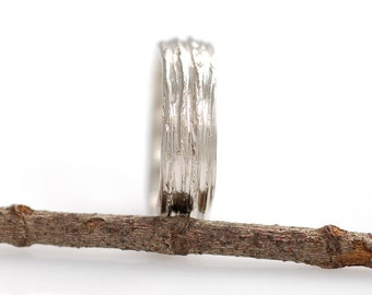 Tree Bark Wedding Ring - Palladium/Silver Wedding Band - 6mm - made to order wedding ring in recycled metal