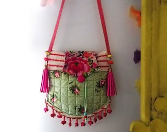 Ditsy Rose Bag, Beaded, Vintage Embroidered, Bohemian, Purse, Polka Dots, Cute Bag, Dance Bag, Cross Body Bag