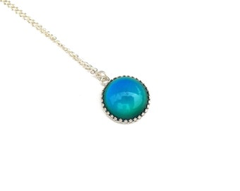 Modern Mood Pendant - Sterling Silver  and Color Changing Stone - Round
