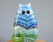 Handmade Lampwork Focal Glass Cat Bead - Roxanne FatCat - Landscape