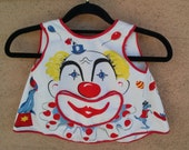 Vintage 1960s Childs Apron Project Smock Circus Clown Novelty Print 2T 2014372
