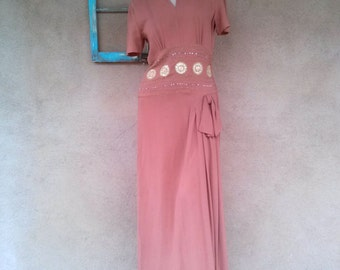 Vintage 1940s Dress 40s Crepe Torch Singer Bombshell Evening Gown B38 W30