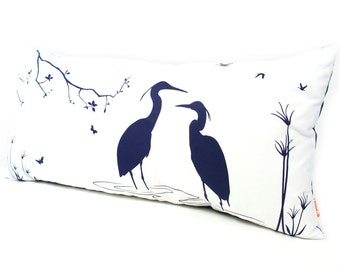 Limited Time Sale - Navy Blue Print on Off White Cotton Egret Lovers in the Swamp Rectangle Pillow