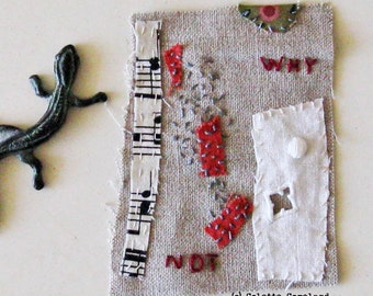 Textile art, mini quilt, stitching, embroidery, Why Not