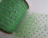 "Tulle Net Ribbon Vintage Supply - Green with Silver Glitter Polka Dots - 1.00 a yard 5"" Wide 15 Yards Available"