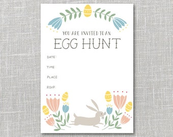 Egg Hunt Party Invitation Printable Instant Download PDF