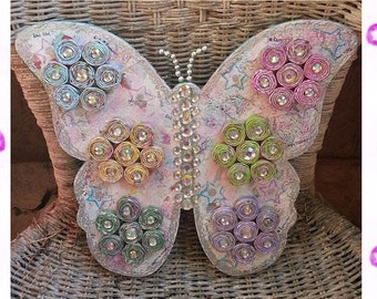 Rolled Paper Bead Mixed Media Art Wood Butterfly Hanger Wall Decoration Cottage Style OOAK Hickety Pickety