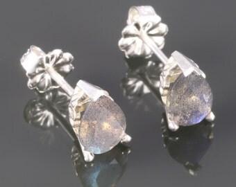 Labradorite Stud Earrings. Sterling Silver. Genuine Gemstone. Prong Settings. Scroll Pattern. 5x7mm Faceted Pear. f16e048