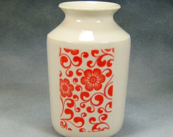 Porcelain Bud Vase Hand Thrown Ceramic Bud Vase With Red and White design 9