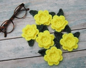 3D Crochet Flowers Applique Set Fluo Yellow Rose Embellishment