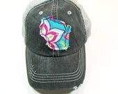 Distressed Trucker Hats - Wisconsin Home Bright Teal Floral