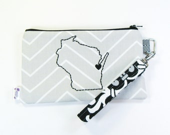 Wristlet Purse / Wristlet Clutch / Cell Phone Wristlet - Green Bay Love - Gray Chevron