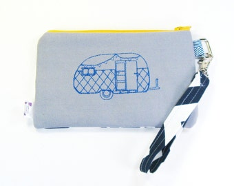 Wrist Bag / Wrist Purse / Wristlet Clutch - Embroidered Happy Camper - Vintage Camper in Blue