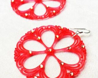 Vintage Watermelon Lucite Earrings with Swarovski, Colorful Gypsy filigree earrings, Bohemian earrings, Summer Jewelry, Statement Earrings