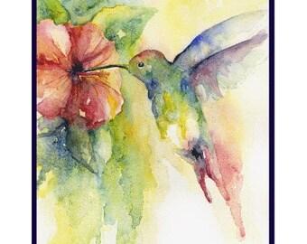 Watercolor Hummingbird Note Cards, Notecards, Hummingbird Prints, Hummingbirds, Gift Box Set, Stocking Stuffers